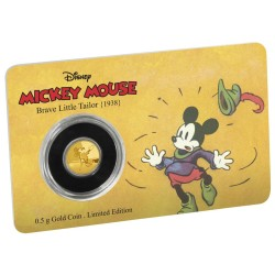 Niue 2,50 dollar 2016 Disney - Mickey Through the Ages 2 - Brave Little Tailor - 0,5 gram goud coincard