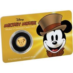 Niue 2,50 dollar 2017 Disney - Mickey Through the Ages 8 - Mickey´s Christmas Carol - 0,5 gram goud coincard