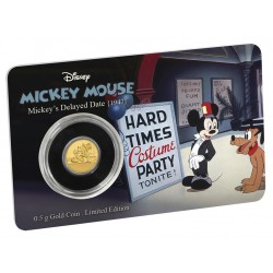 Niue 2,50 dollar 2017 Disney - Mickey Through the Ages 6 - Delayed Date - 0,5 gram goud coincard