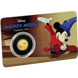 Niue 2,50 dollar 2017 Disney - Mickey Through the Ages 4 - Fantasia - 0,5 gram goud  coincard