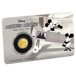 Niue 2,50 dollar 2016 Disney - Mickey Through the Ages 3 - Plane Crazy - 0,5 gram goud coincard