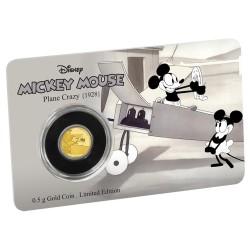 Niue 2,50 dollar 2016 Disney - Mickey Through the Ages 3 - Plane Crazy - 0,5 gram goud coincard