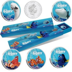 Niue 5x 2 dollar 2016 Disney Pixar - Finding Dory  - Coin set - 5x 1 Oz. zilver