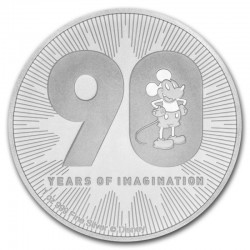 Niue 2 dollars 2018 Disney - Mickey Mouse - 90th anniversary - 1 Oz. silver bullion