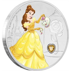 Niue 2 dollars 2018 Disney Princess - 2) Belle™ with gemstone - 1oz silver coin