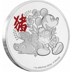 Niue 2 dollars 2019 Disney - Lunar - Year of the Pig - 1 Oz silver Coin