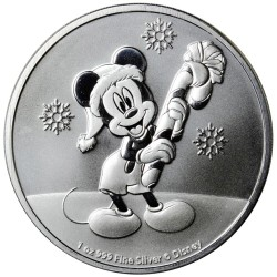 2020 Disney Bullion 12) MICKEY CHRISTMAS 2020 - Niue 2 dollars 1 oz silver coin