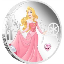 2020 Disney Princess with Gemstone 5) AURORA - Niue 2 dollars 1oz silver coin