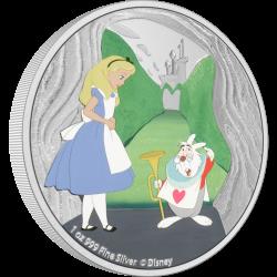 2021 Disney Classics Alice in Wonderland 2) White Rabbit - Niue 2 dollars 1 oz silver coin