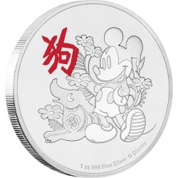 Niue 2 dollar 2018 Disney - Lunar - Year of the Dog - 1 Oz silver Coin