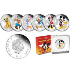 Niue 2 dollar 2014 Disney - Mickey & Friends collection - Complete 6 coin Collection - 1 Oz. zilver