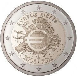 Cyprus 2 euro 2012 'Tien jaar Euro' UNC