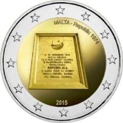 Malta 2 euro 2015 'Proclamatie van de Republiek in 1974' UNC zonder muntmeesterteken