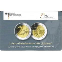 Duitsland 2 euro 2016 'Sachsen - Zwinger von Dresden in coincard F (Stuttgart)