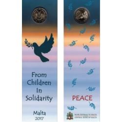 Malta 2 euro 2017 'Vrede' coincard met Frans muntteken