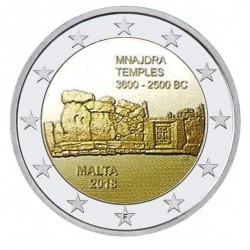 Malta 2 euro 2018 'Mnajdra Tempels' UNC met Malteser muntteken