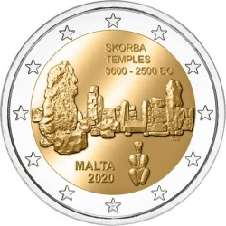 Malta 2 euro 2020 Skorba Tempels UNC met Malteser muntteken (F)