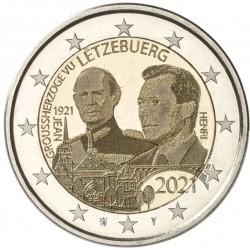 Luxemburg 2 euro 2021 Jean - UNC foto - muntteken Leeuw + Mercuriusstaaf