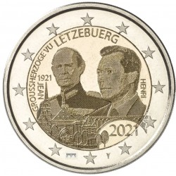 Luxemburg 2 euro 2021 Jean - UNC foto - muntteken Sint Servaasbrug + Mercuriusstaaf