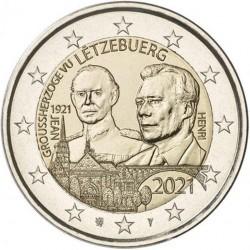 Luxemburg 2 euro 2021 Jean - UNC relief - muntteken Leeuw + Mercuriusstaaf