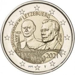Luxemburg 2 euro 2021 Jean - UNC relief - muntteken Sint Servaasbrug + Mercuriusstaaf