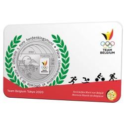 Belgie 5 euro 2021 Team Belgie Tokio 2020 BU in coincard KLEUR