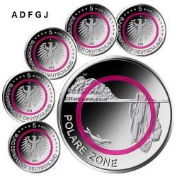 Duitsland 5 euro 2021 Polaire Zone UNC ADFGJ