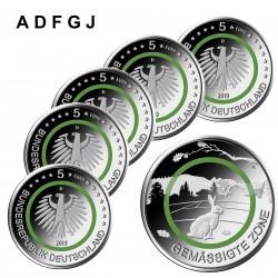 Duitsland 5 euro 2019 Gematigde Zone UNC ADFGJ