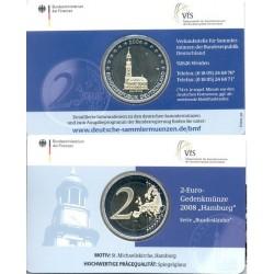 Duitsland 2 euro 2008 'Hamburg - St. Michaelis Kerk in Hamburg'  in coincard J (Hamburg)