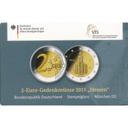 Duitsland 2 euro 2015 'Hessen - Pauluskirche in Frankfurt' in coincard D (München)