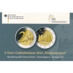 Duitsland 2 euro 2014 'Niedersachsen - St. Michaeliskirche te Hildesheim' in coincard F (Stuttgart)