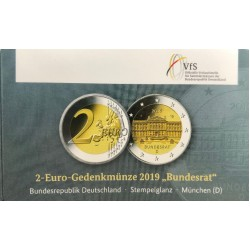 Duitsland 2 euro 2019 D Bundesrat BU coincard