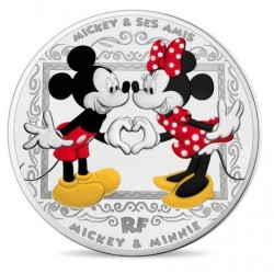 Frankrijk 10 euro 2018: Mickey & Minnie Mouse - silver proof coin