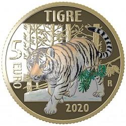 Italie 5 euro 2020 Bedreigde diersoorten - Tijger PROOF