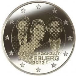 Luxemburg 2 euro comm 2012 'Huwelijk Guillaume(Willem) en Stépanie de Lannoy' UNC