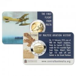 Malta 2 euro 2015 'Eerste vlucht vanuit Malta' Coincard