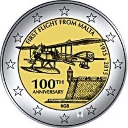 Malta 2 euro 2015 'Eerste vlucht vanuit Malta' UNC met muntteken