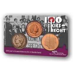 Nederland 2019: 100 jaar Vrouwenkiesrecht in coincard (3x 5 cent)