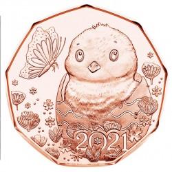 Oostenrijk 5 euro 2021 Pasen - Kuikentje UNC