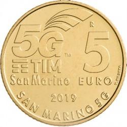 San Marino 5 euro 2019 5G Network unc coin