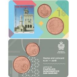 San Marino 1 & 5 cent 2018 BU - coincard  nr. 01