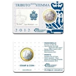 San Marino 1 euro + stamp 2012 BU - coincard  nr. 02