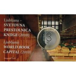 Slovenie 3 euro 2010 'Wereldboekenhoofdstad Ljubljana' Proof in coincard