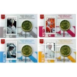 Vaticaan 50 cent + postzegel 2015 coincard nr. 6 t/m 9