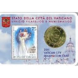 Vaticaan 50 cent + postzegel 2011 coincard nr. 1