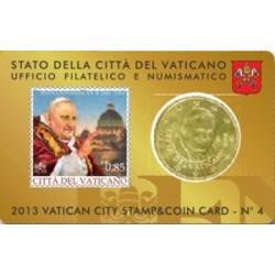 Vaticaanstad 50 cent + postzegel 2013 coincard nr. 4