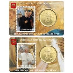Vaticaan 50 cent + postzegel 2019 coincard nr. 30 en 31