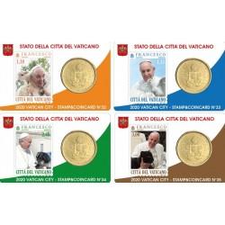 Vaticaan 50 cent + postzegel 2020 coincard nr. 32, 33, 34, 35