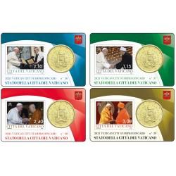 Vaticaan 50 cent + postzegel 2021 coincard nr. 36, 37, 38, 39