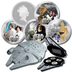 Niue 4 x 2 dollar 2011 Star Wars - Millenium Falcon Silver Coin Set
